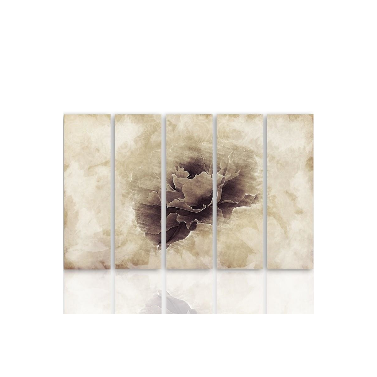 Five Part Picture On Canvas, Pentaptych, Type C, Gray Flower100x150