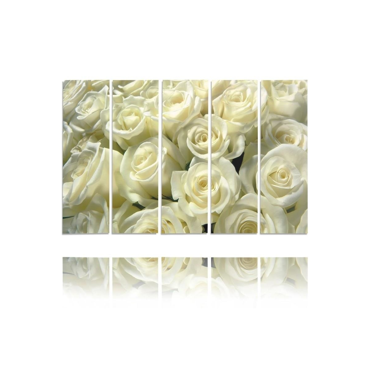 Five Part Picture On Canvas, Pentaptych, Type C, White Roses 100x150