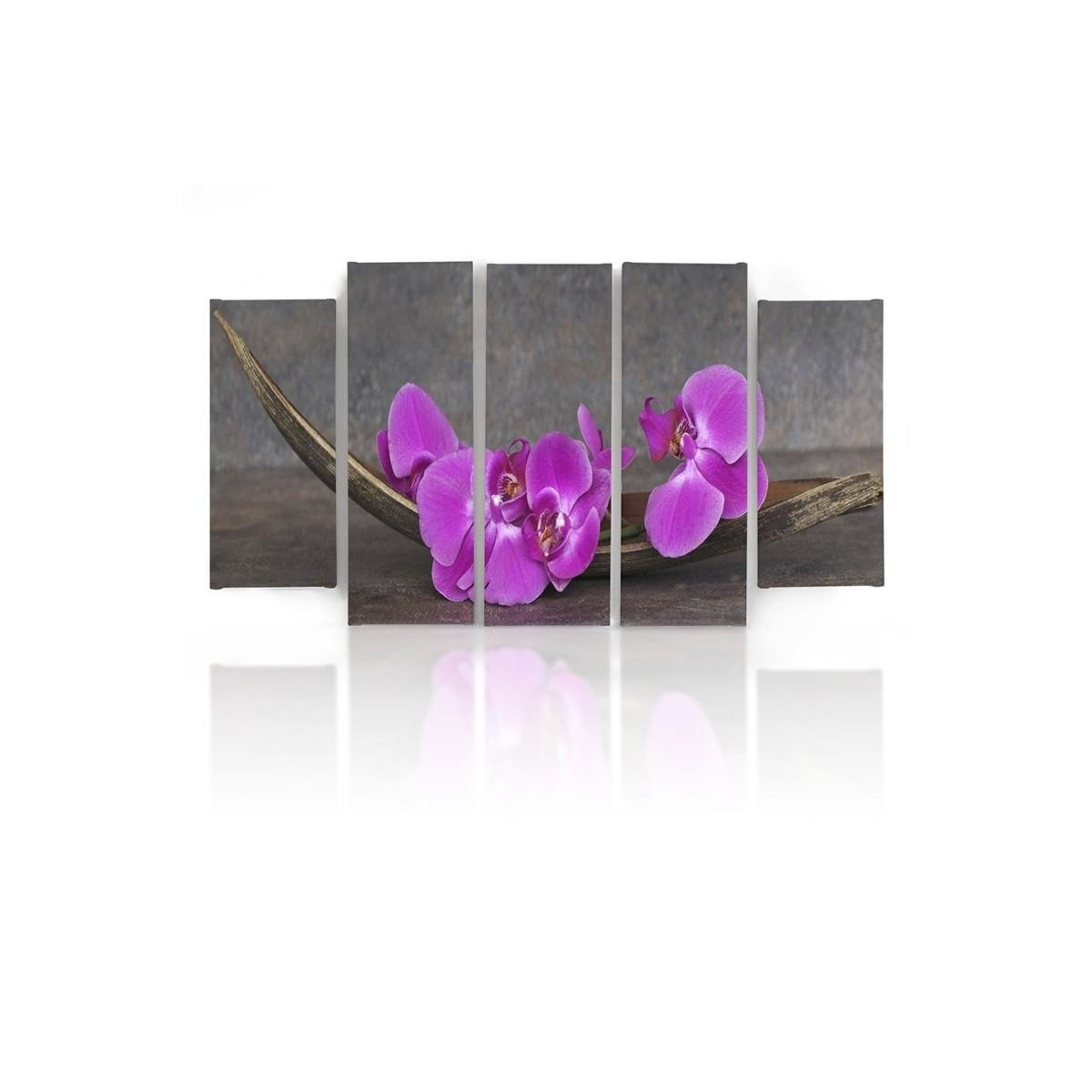 Five Part Picture On Canvas, Pentaptych, Type B, Pink Orchids 100x150