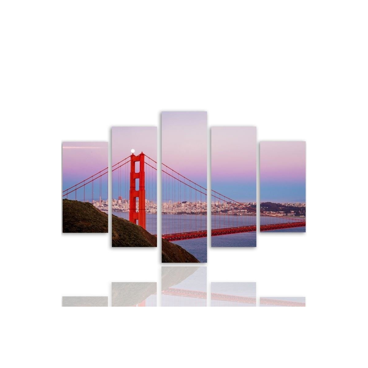 Five Part Picture On Canvas, Pentaptych, Type A, Golden Gate Bridge 3100x150