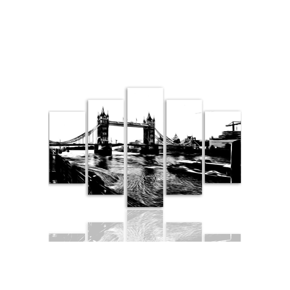 Five Part Picture On Canvas, Pentaptych, Type A, Tower Bridge100x150