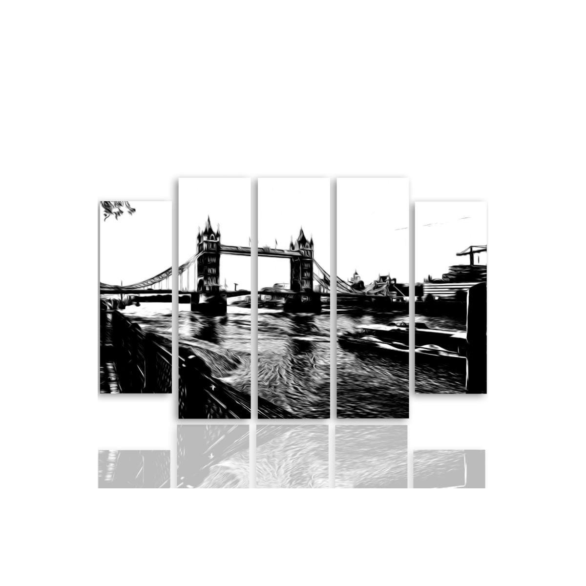 Five Part Picture On Canvas, Pentaptych, Type B, Tower Bridge100x150