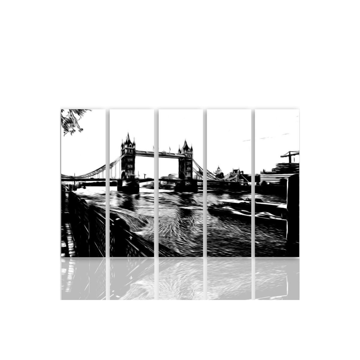 Five Part Picture On Canvas, Pentaptych, Type C, Tower Bridge100x150