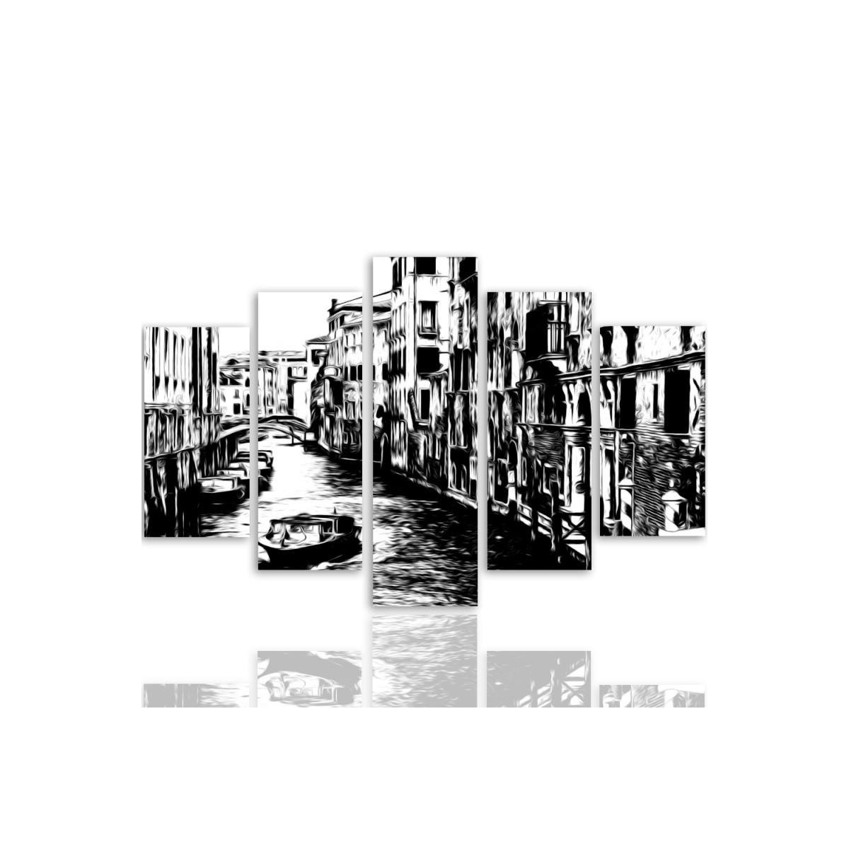 Five Part Picture On Canvas, Pentaptych, Type A, Venice Canal100x150