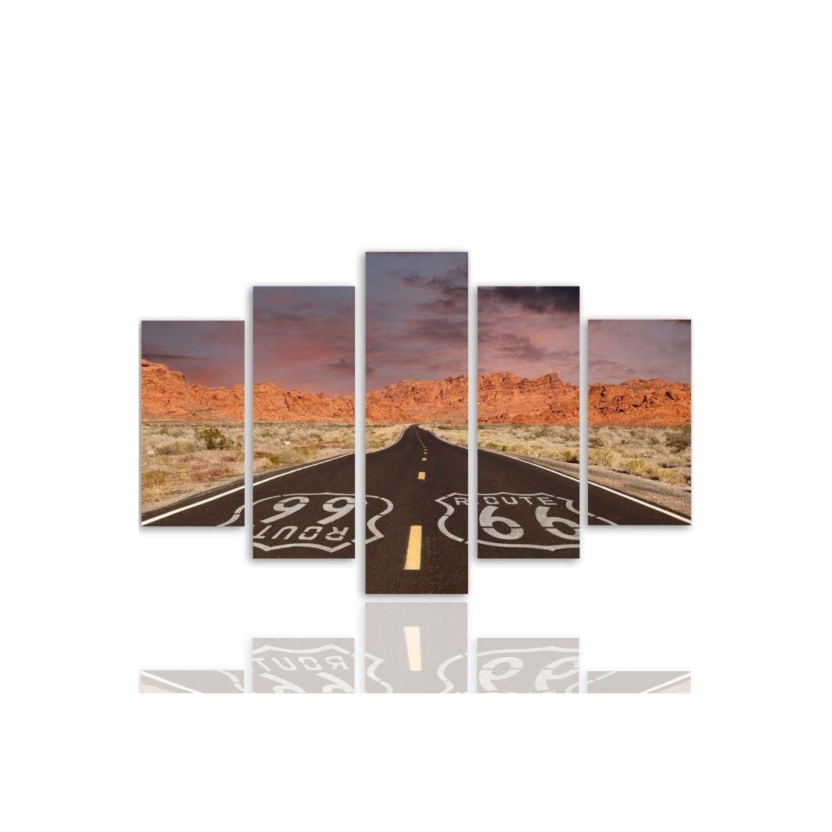 Five Part Picture On Canvas, Pentaptych, Type A, Route 66 Road100x150