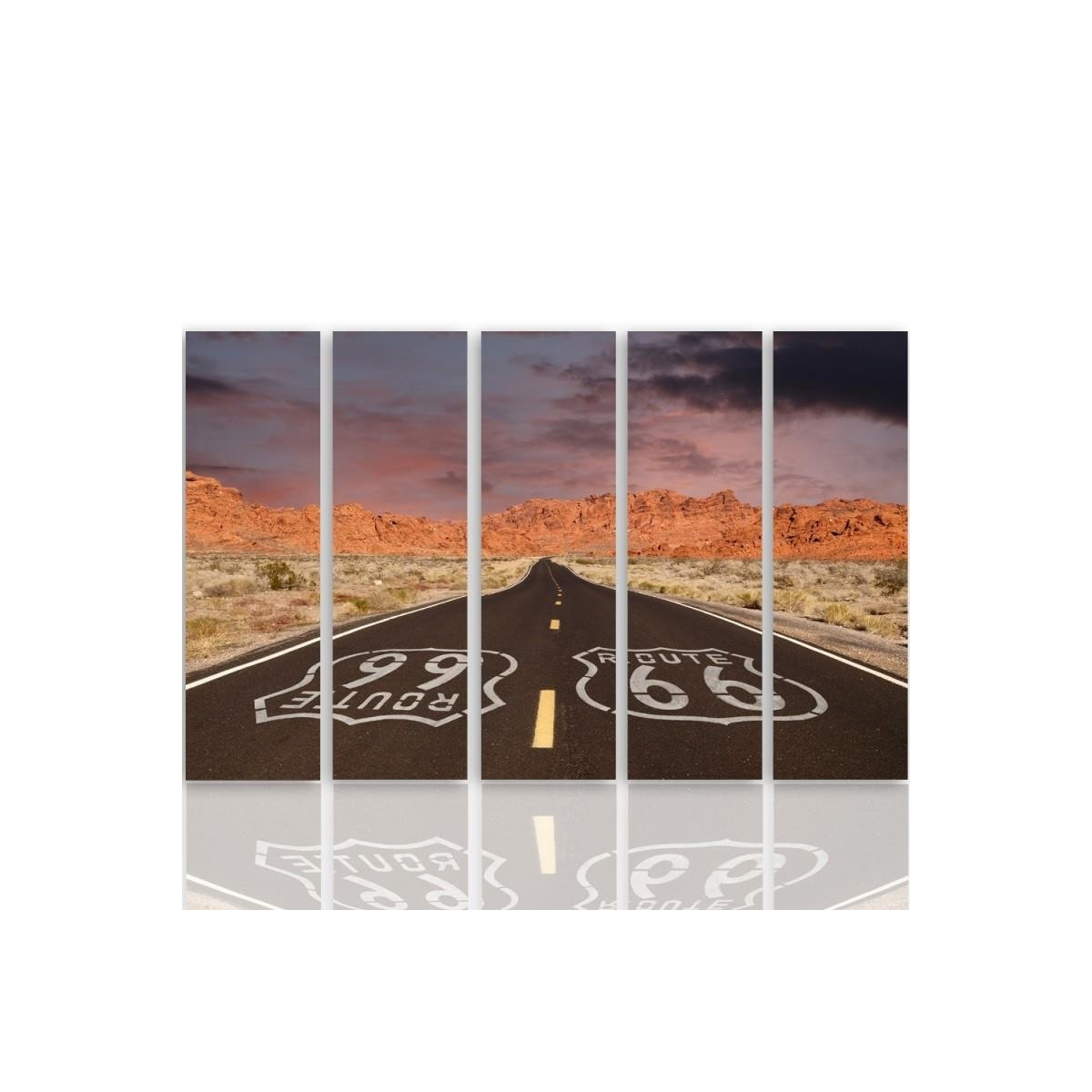 Five Part Picture On Canvas, Pentaptych, Type C, Route 66 Road100x150