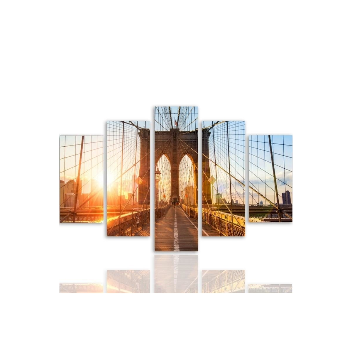Five Part Picture On Canvas, Pentaptych, Type A, Sunrise On The Bridge100x150