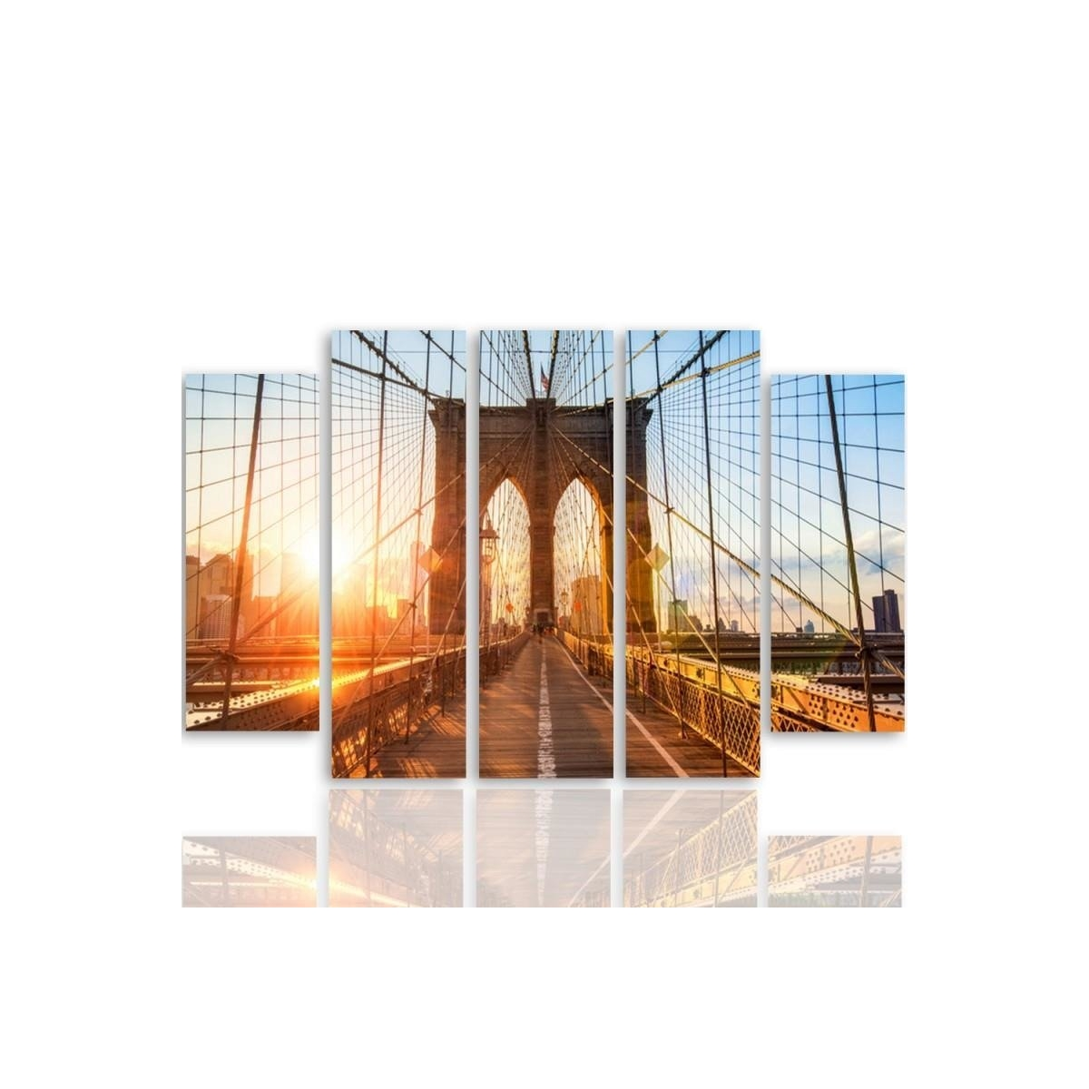 Five Part Picture On Canvas, Pentaptych, Type B, Sunrise On The Bridge100x150