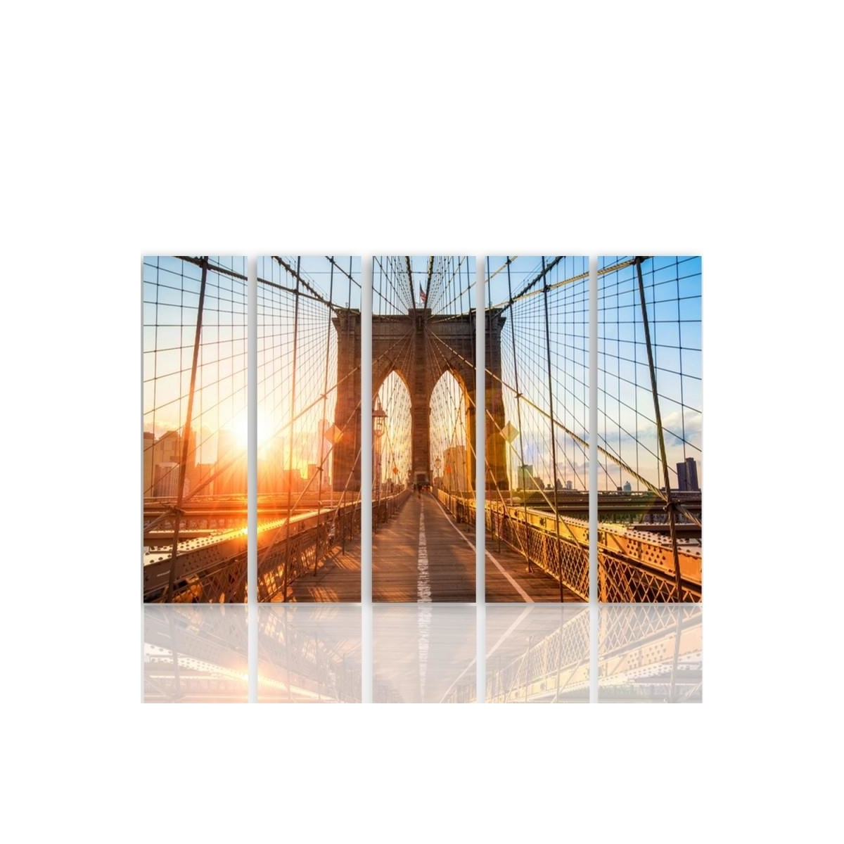 Five Part Picture On Canvas, Pentaptych, Type C, Sunrise On The Bridge100x150