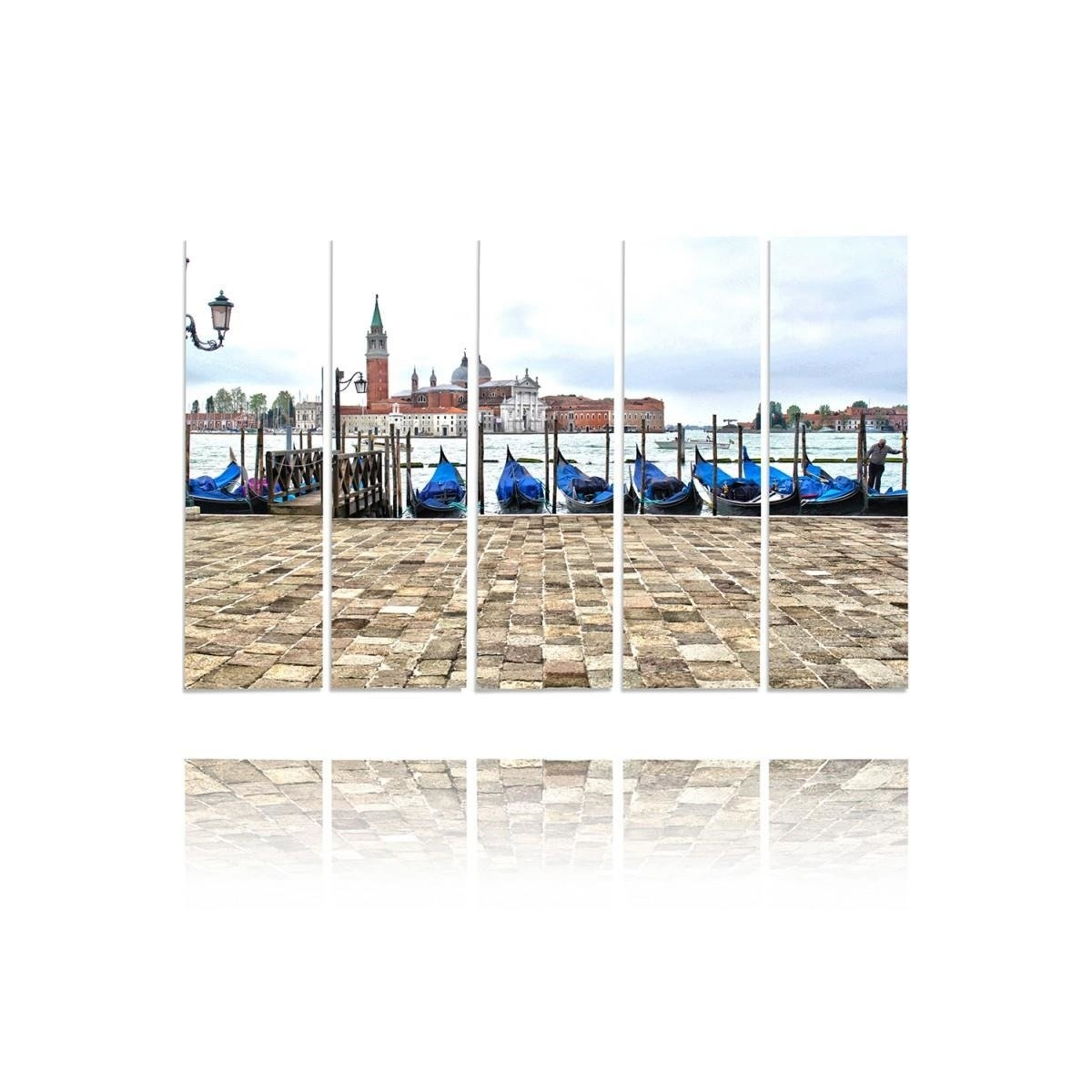 Five Part Picture On Canvas, Pentaptych, Type C, Venice Panorama100x150
