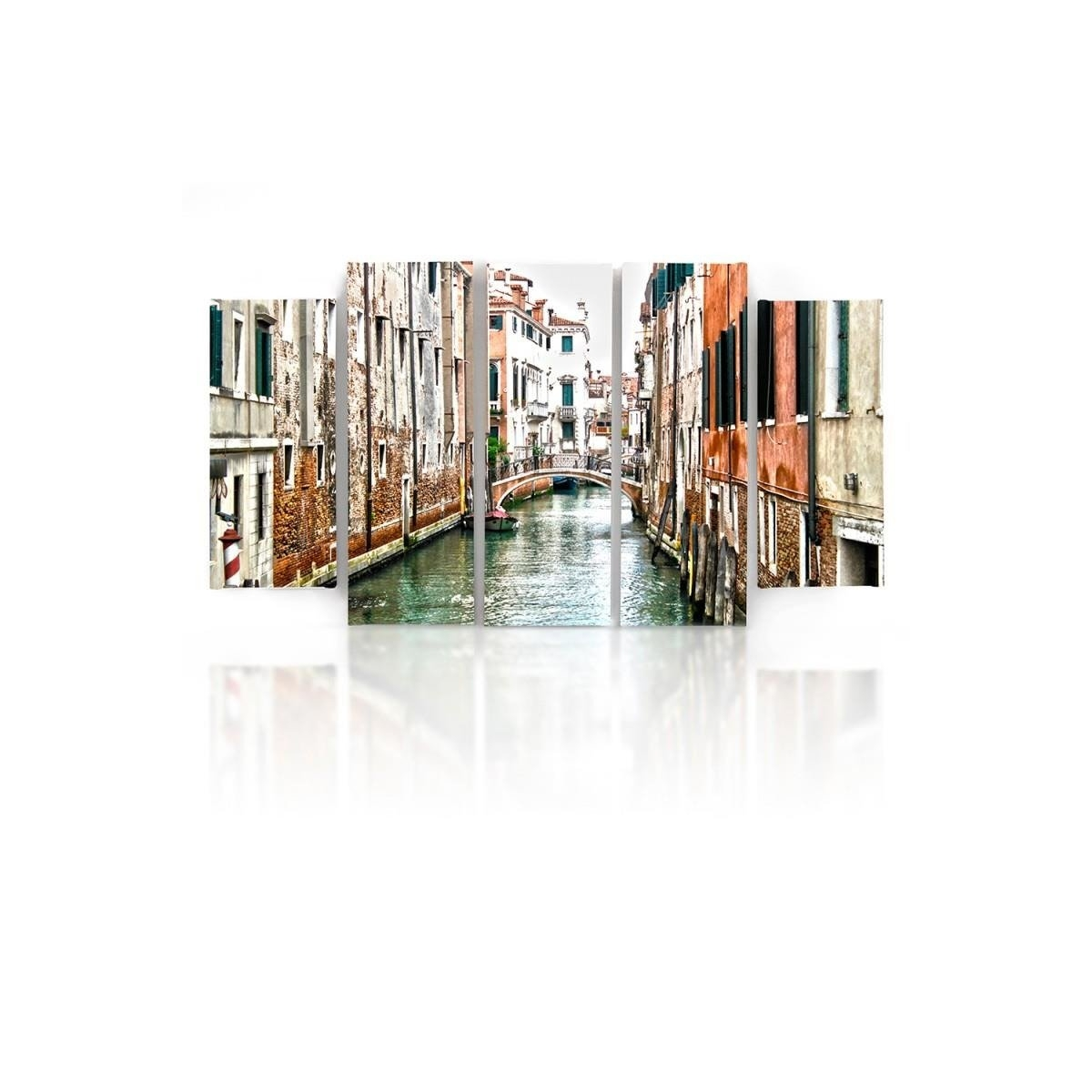 Five Part Picture On Canvas, Pentaptych, Type B, Venice Canal100x150