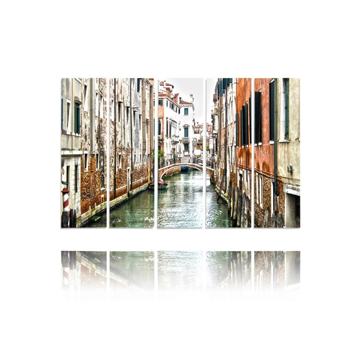 Five Part Picture On Canvas, Pentaptych, Type C, Venice Canal100x150