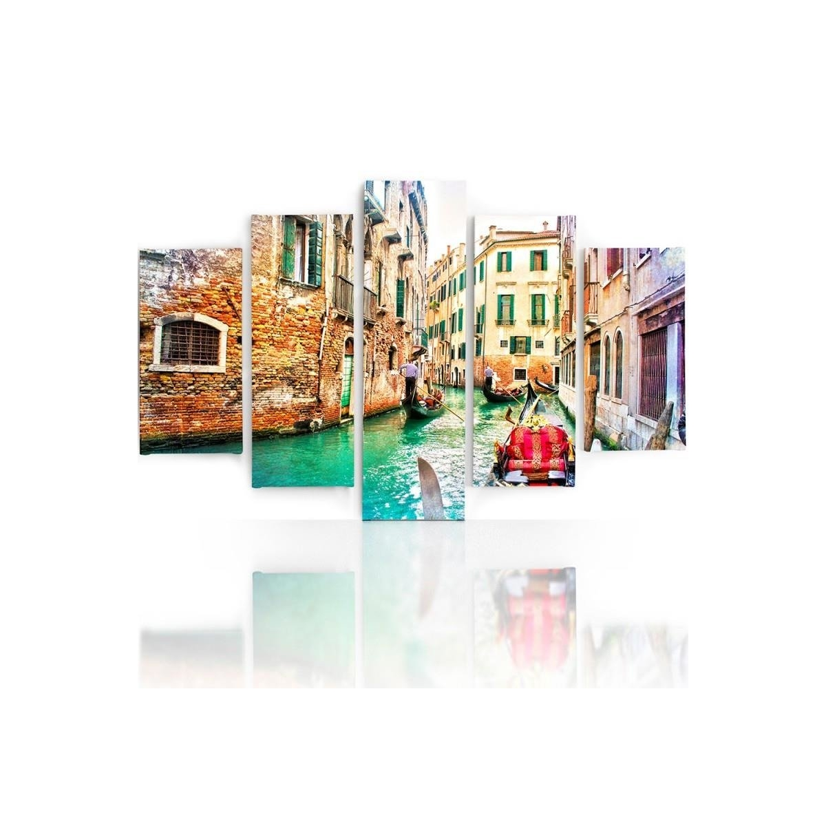 Five Part Picture On Canvas, Pentaptych, Type A, Venice 1100x150