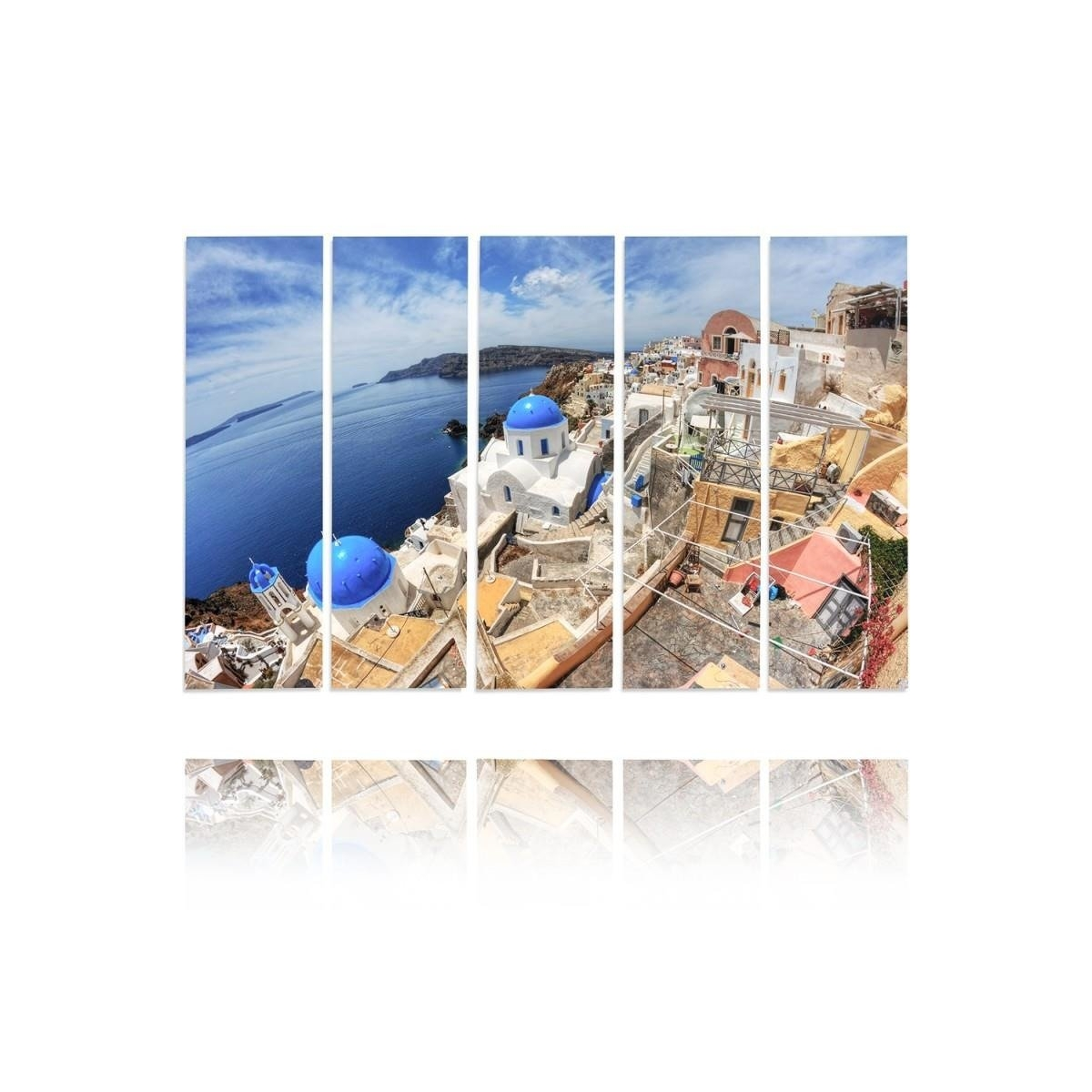 Five Part Picture On Canvas, Pentaptych, Type C, Santorini Hdr100x150