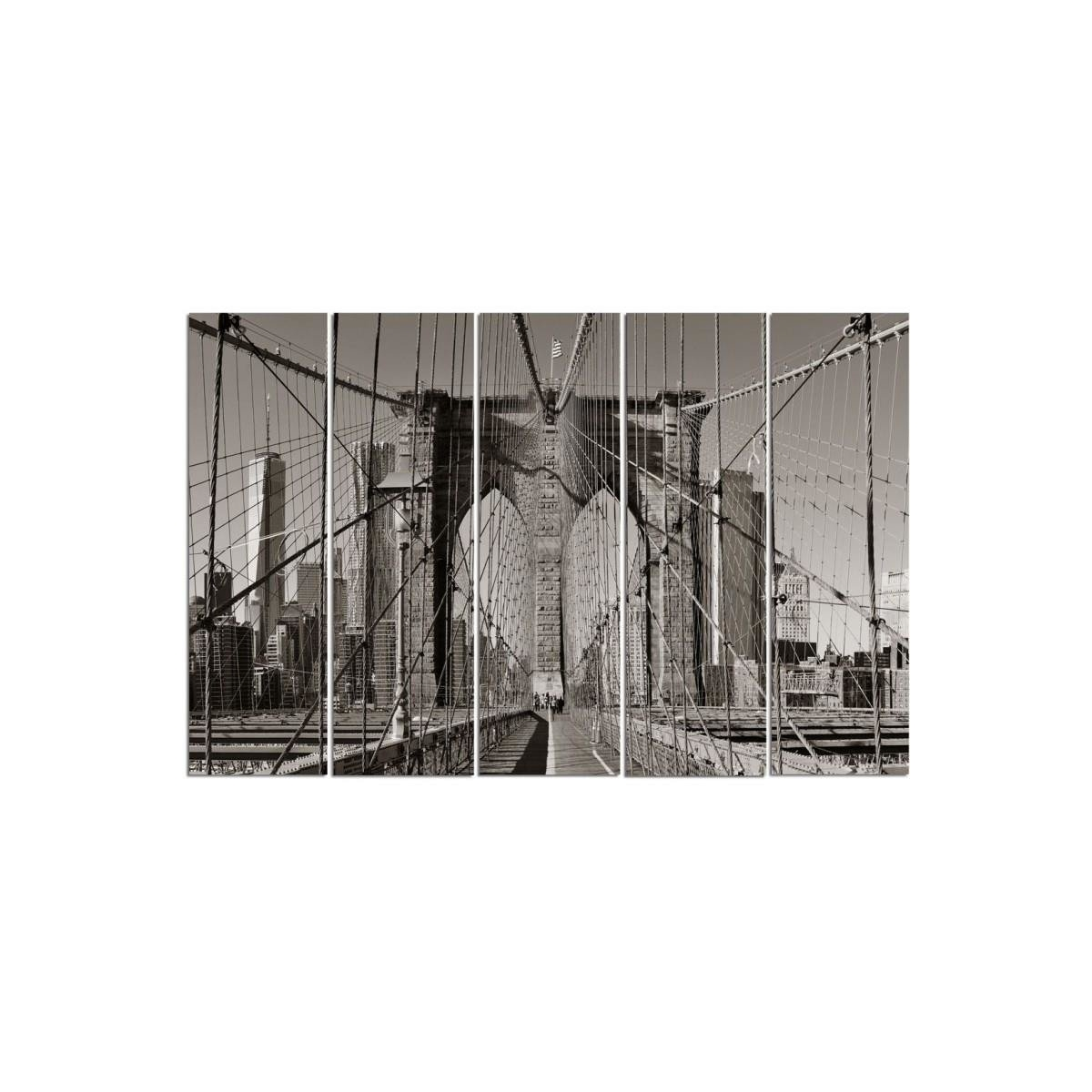 Five Part Picture On Canvas, Pentaptych, Type C, Brooklyn Bridge100x150