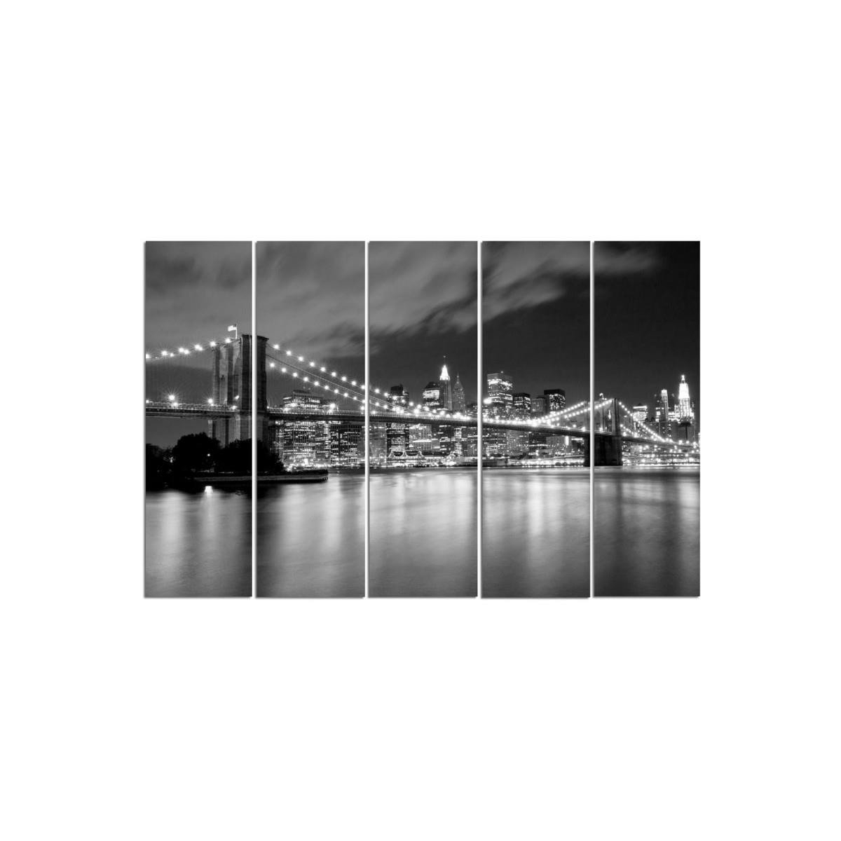 Five Part Picture On Canvas, Pentaptych, Type C, The Brooklyn Bridge At Night 100x150