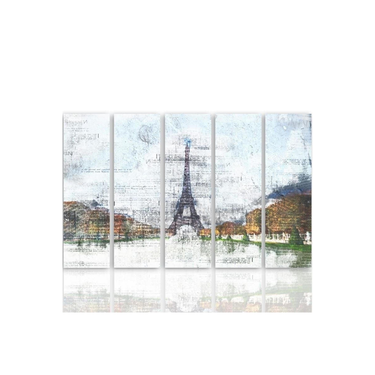 Five Part Picture On Canvas, Pentaptych, Type C, Eiffel Tower 6100x150