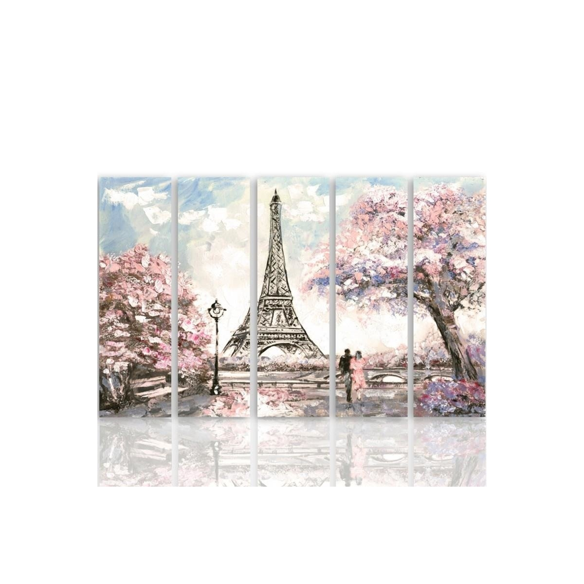 Five Part Picture On Canvas, Pentaptych, Type C, Spring In Paris100x150