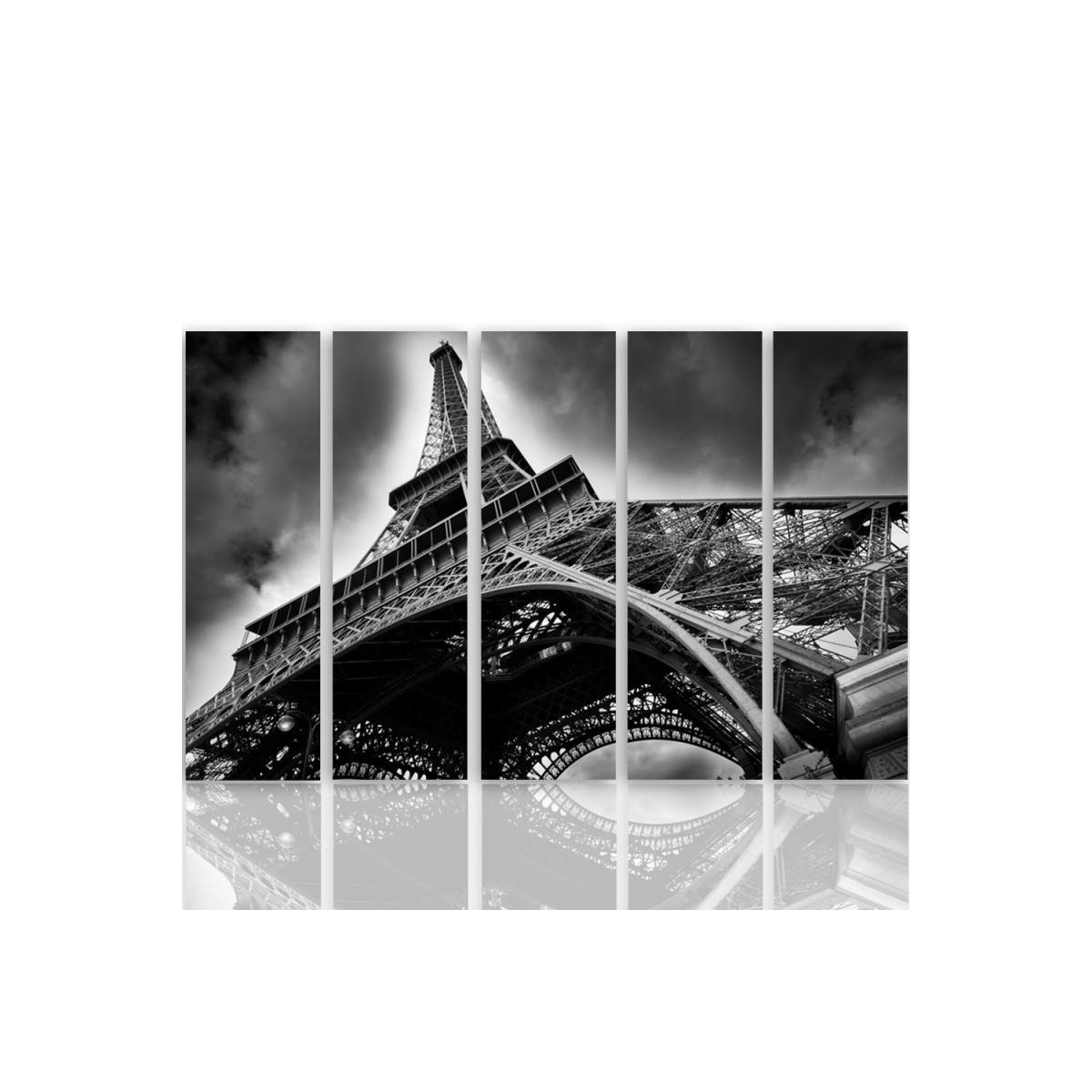 Five Part Picture On Canvas, Pentaptych, Type C, The Eiffel Tower In The Clouds100x150