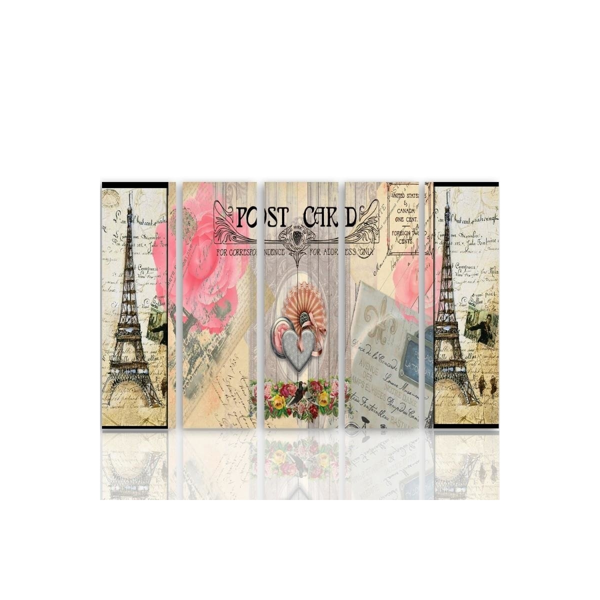 Five Part Picture On Canvas, Pentaptych, Type C, Postcard From Paris100x150