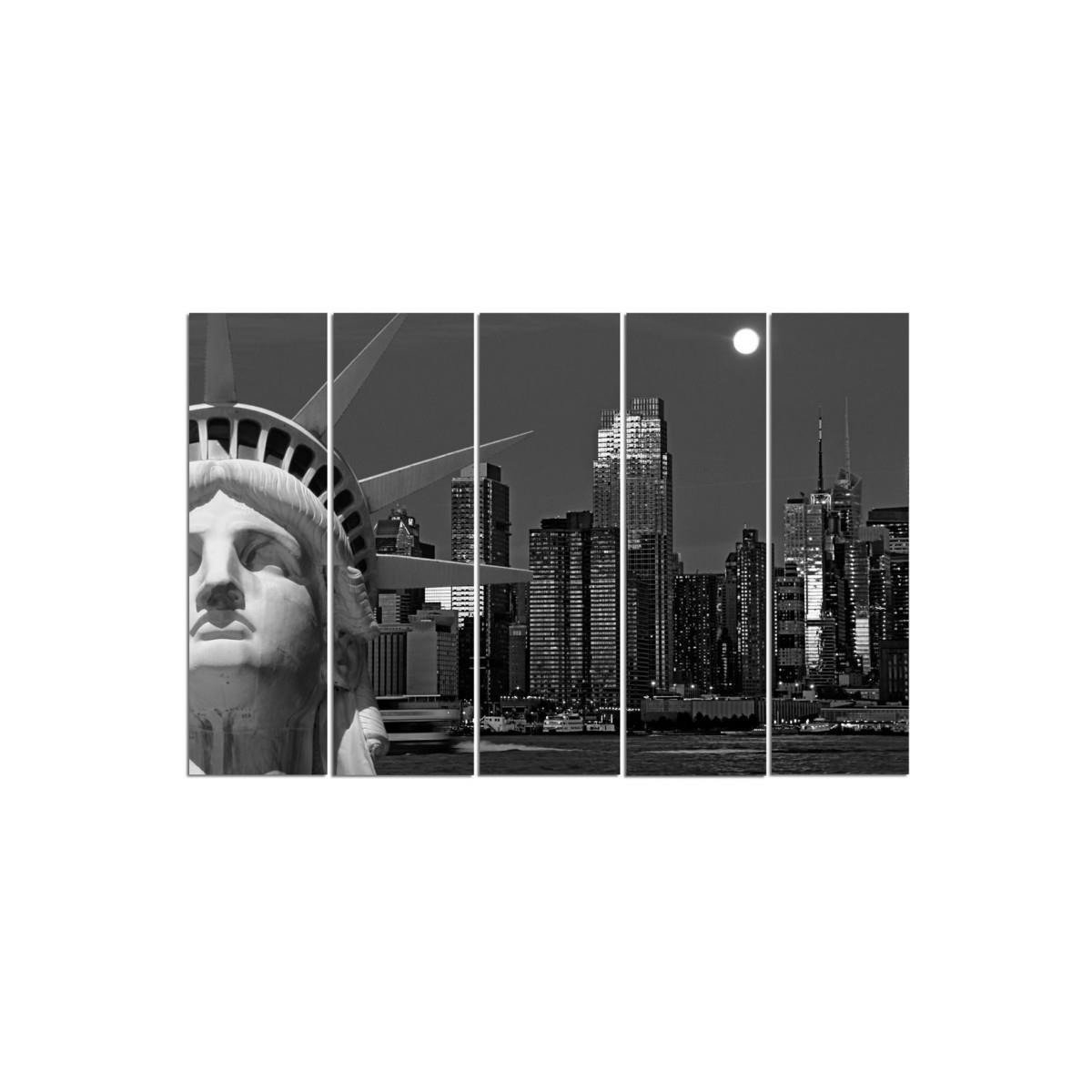 Five Part Picture On Canvas, Pentaptych, Type C, The Statue Of Liberty With City Views100x150