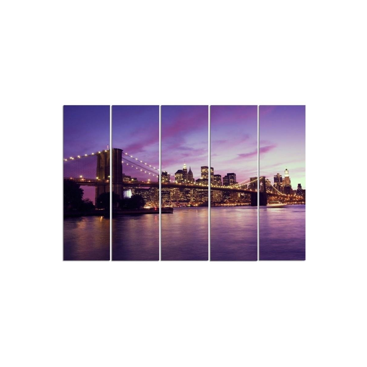 Five Part Picture On Canvas, Pentaptych, Type C, Manhattan At Sunset 100x150