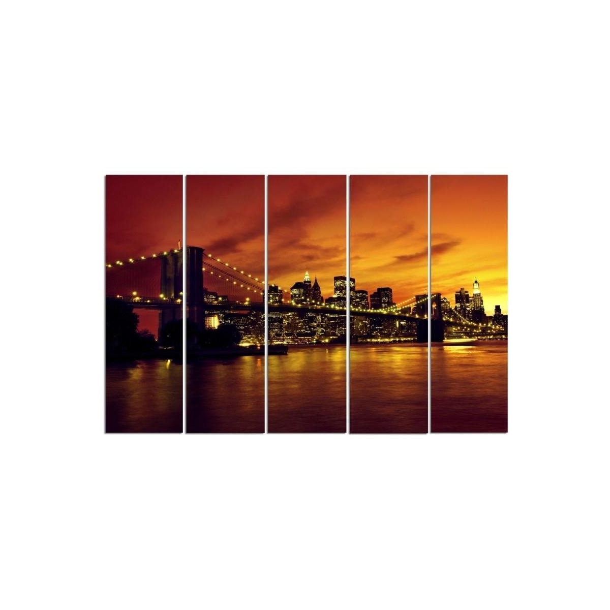 Five Part Picture On Canvas, Pentaptych, Type C, The Brooklyn Bridge And Manhattan At Sunset 100x150