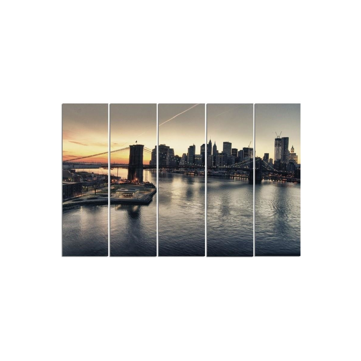 Five Part Picture On Canvas, Pentaptych, Type C, The Brooklyn Bridge In New York City 100x150