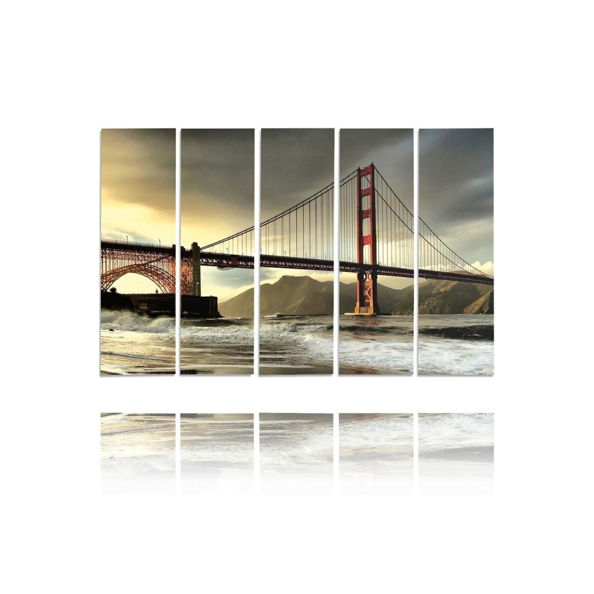 Five Part Picture On Canvas, Pentaptych, Type C, Bridge Across The River 100x150