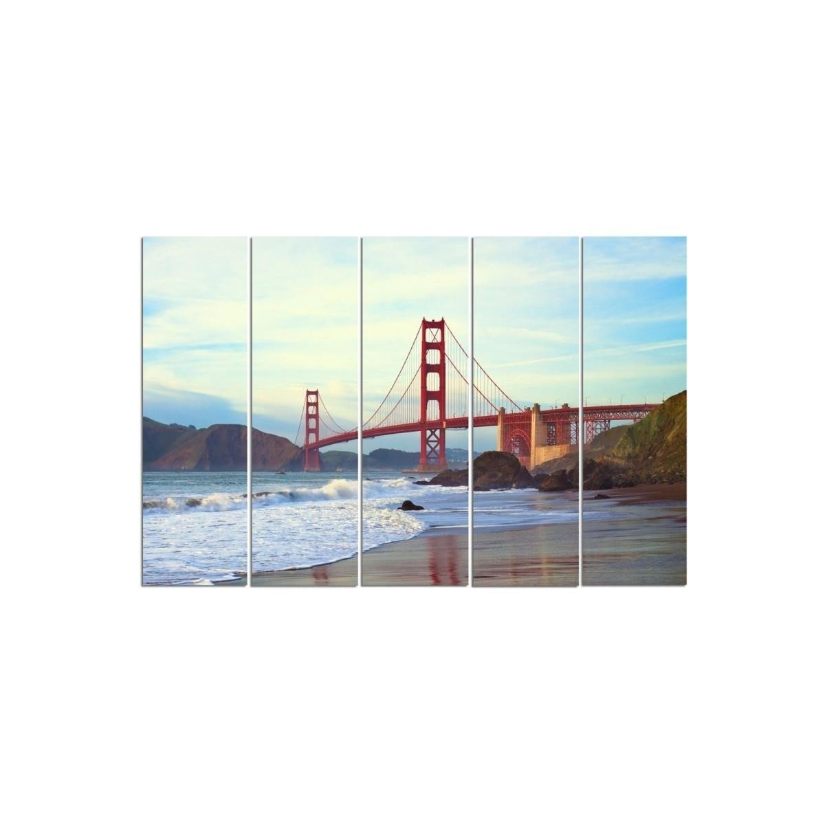 Five Part Picture On Canvas, Pentaptych, Type C, The Golden Gate Bridge100x150