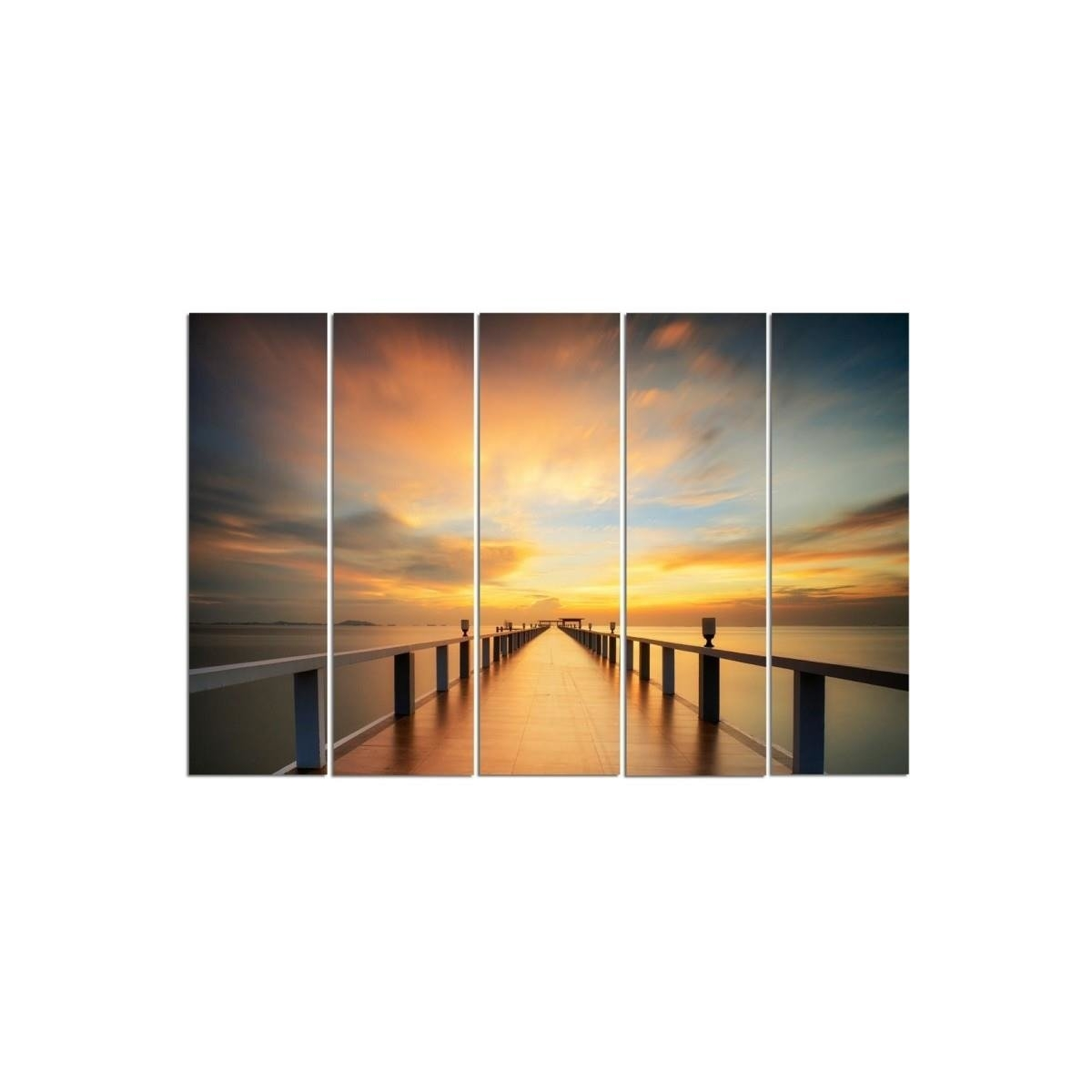 Five Part Picture On Canvas, Pentaptych, Type C, View Of The Sunset On The Pier 100x150