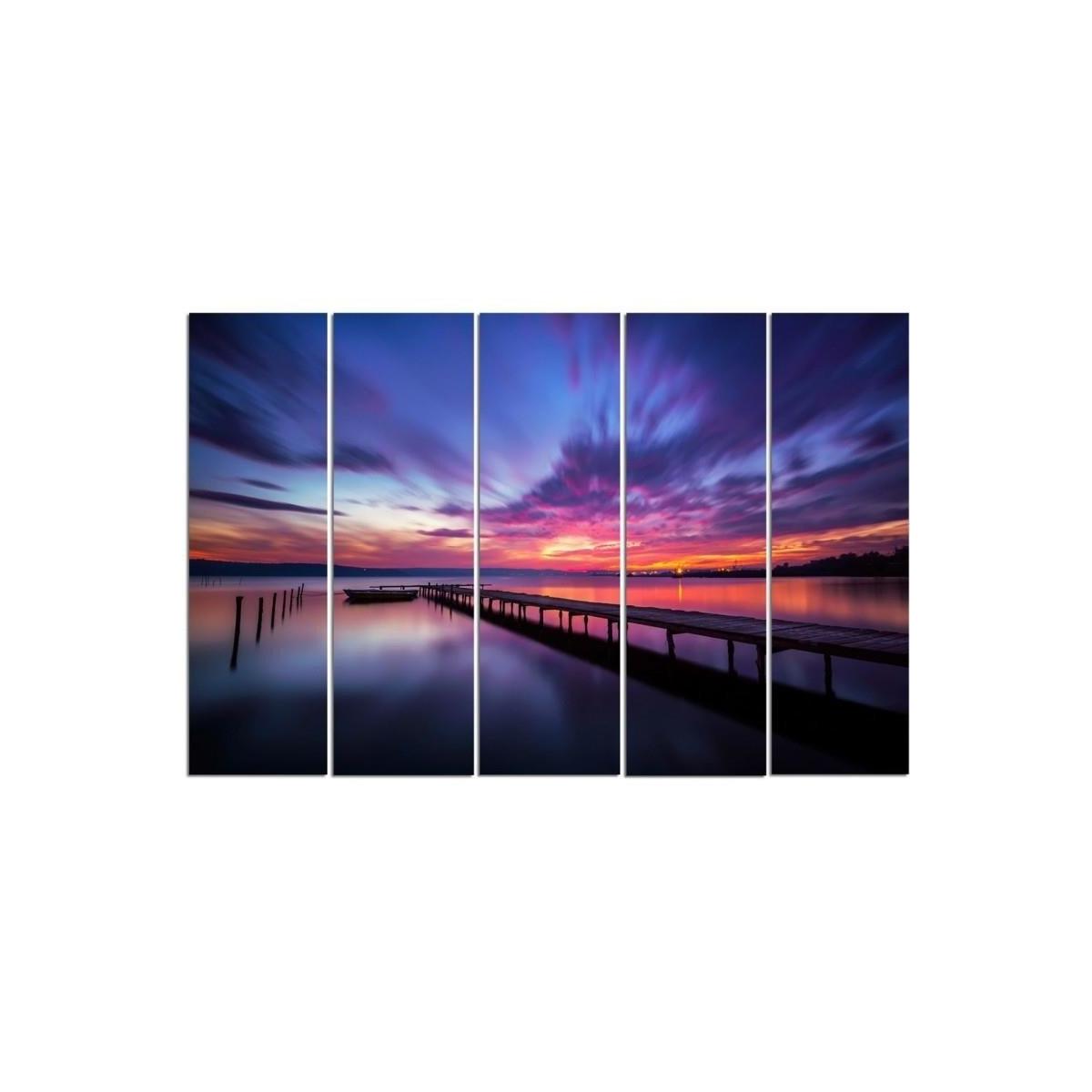 Five Part Picture On Canvas, Pentaptych, Type C, Sky Full Of Colors 100x150