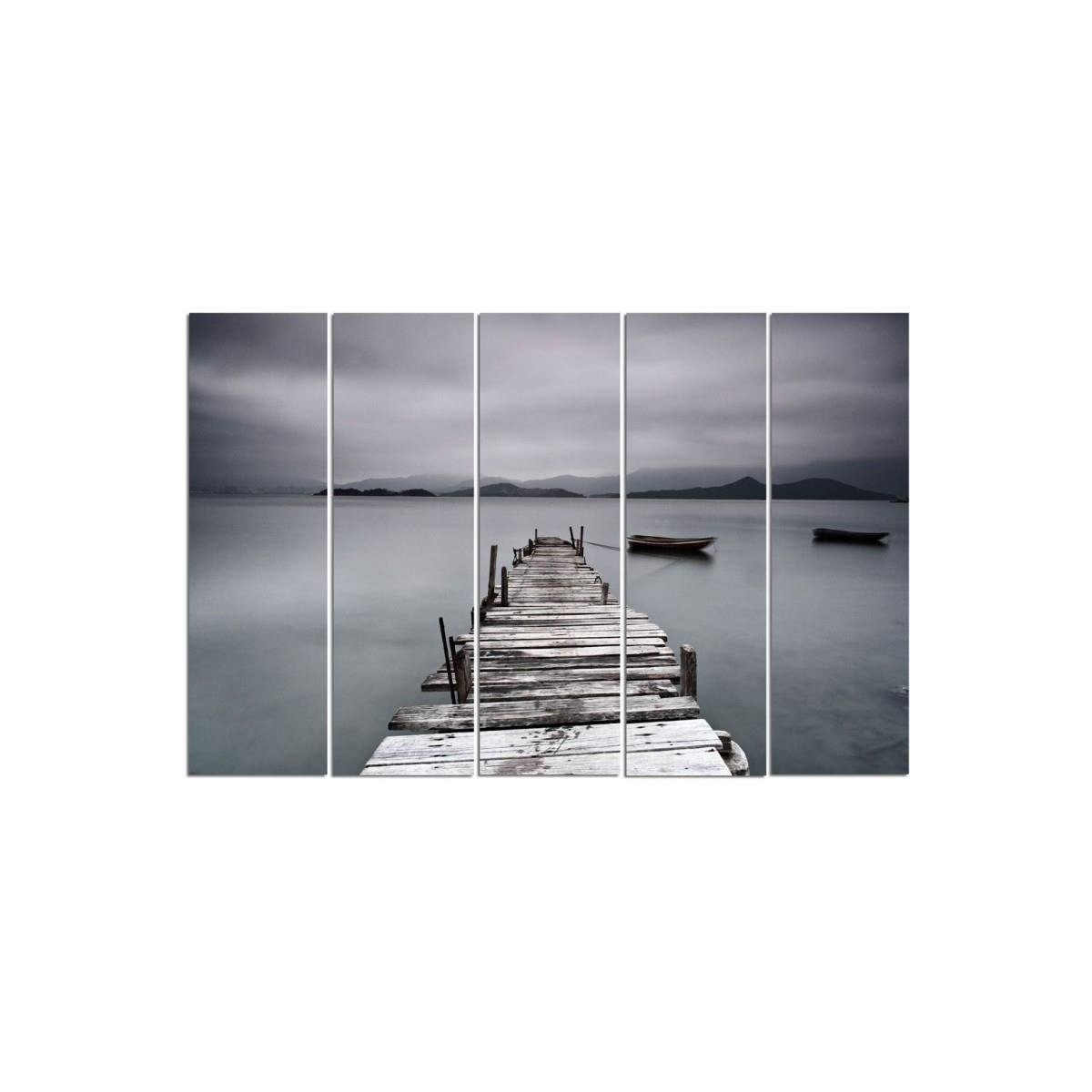 Five Part Picture On Canvas, Pentaptych, Type C, Bridge And Boat100x150