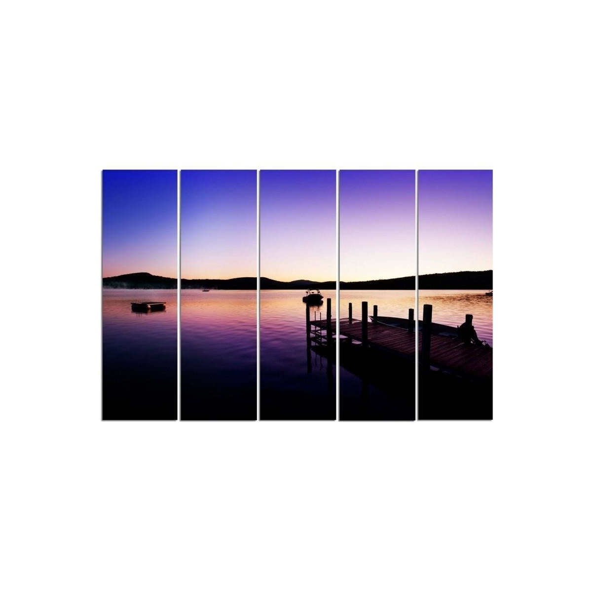Five Part Picture On Canvas, Pentaptych, Type C, Marina And Lake On A Summer Morning100x150