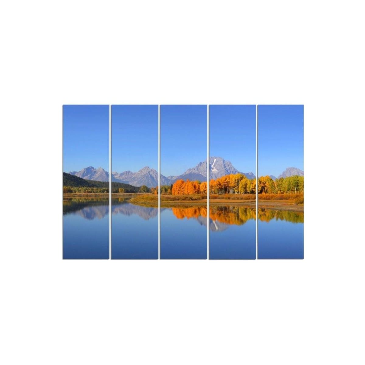Five Part Picture On Canvas, Pentaptych, Type C, Grand Teton National Park 100x150