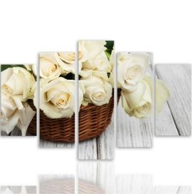Five Part Picture On Canvas, Pentaptych, Type A, Roses In The Basket100x150