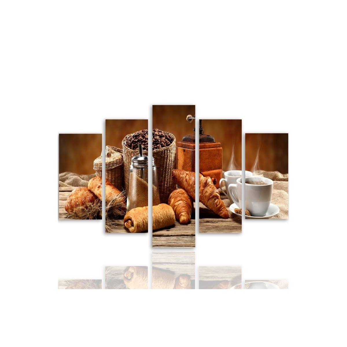 Five Part Picture On Canvas, Pentaptych, Type A, French Breakfast100x150