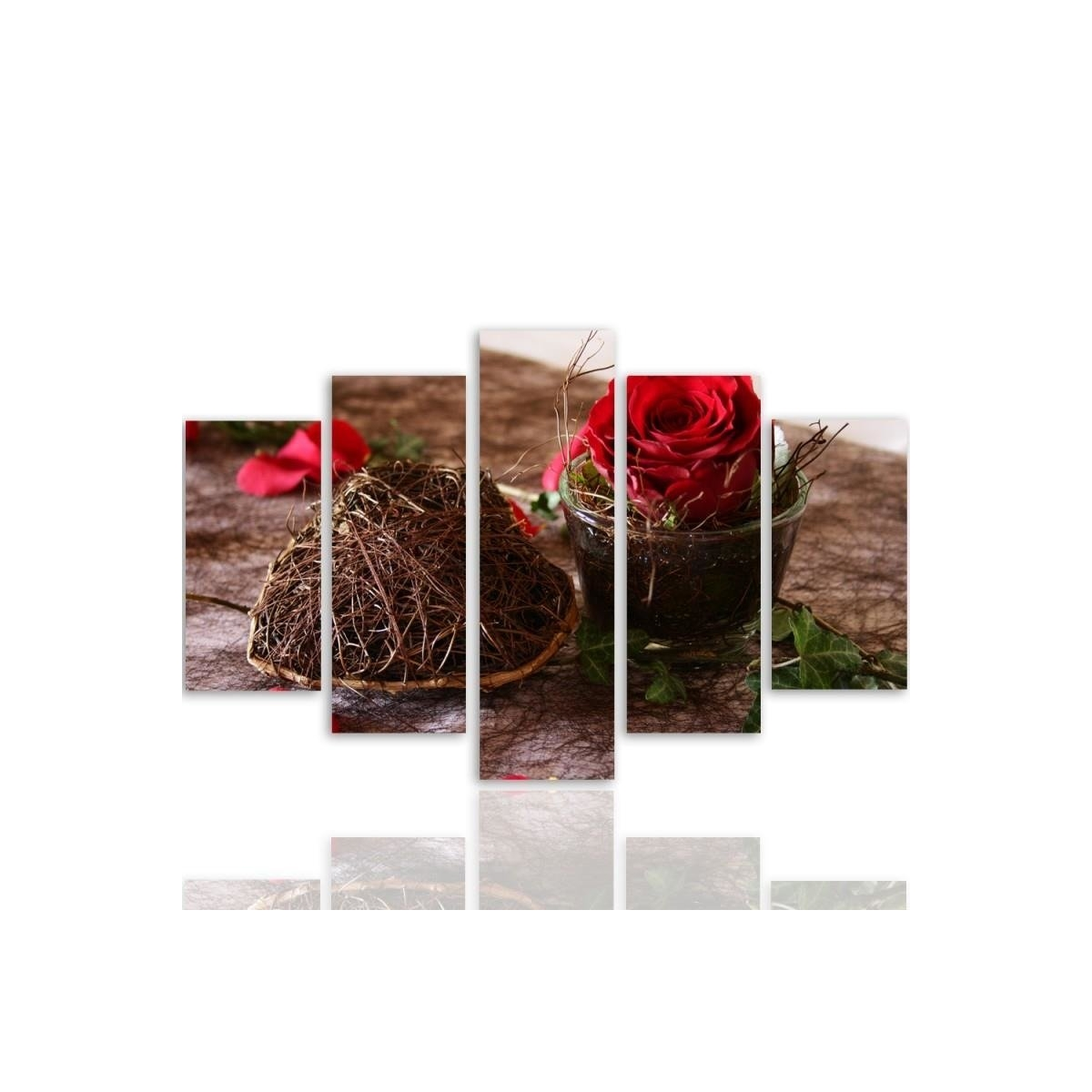 Five Part Picture On Canvas, Pentaptych, Type A, Decoration With Rose 100x150