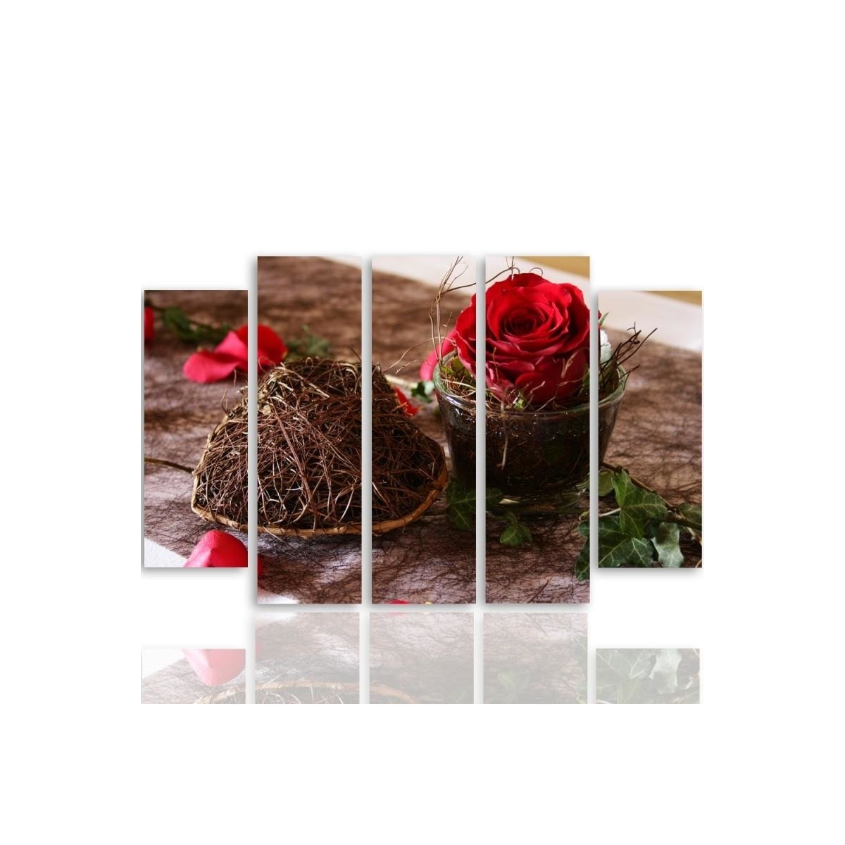 Five Part Picture On Canvas, Pentaptych, Type B, Decoration With Rose 100x150