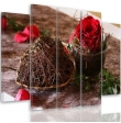 Five Part Picture On Canvas, Pentaptych, Type B, Decoration With Rose100x150