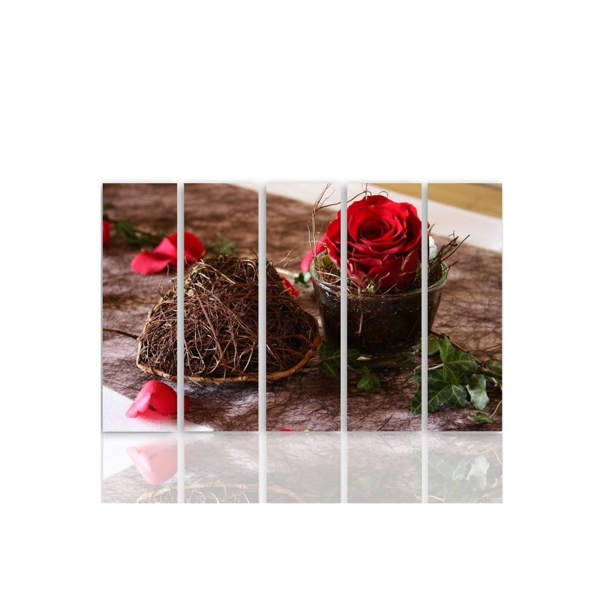 Five Part Picture On Canvas, Pentaptych, Type C, Decoration With Rose 100x150