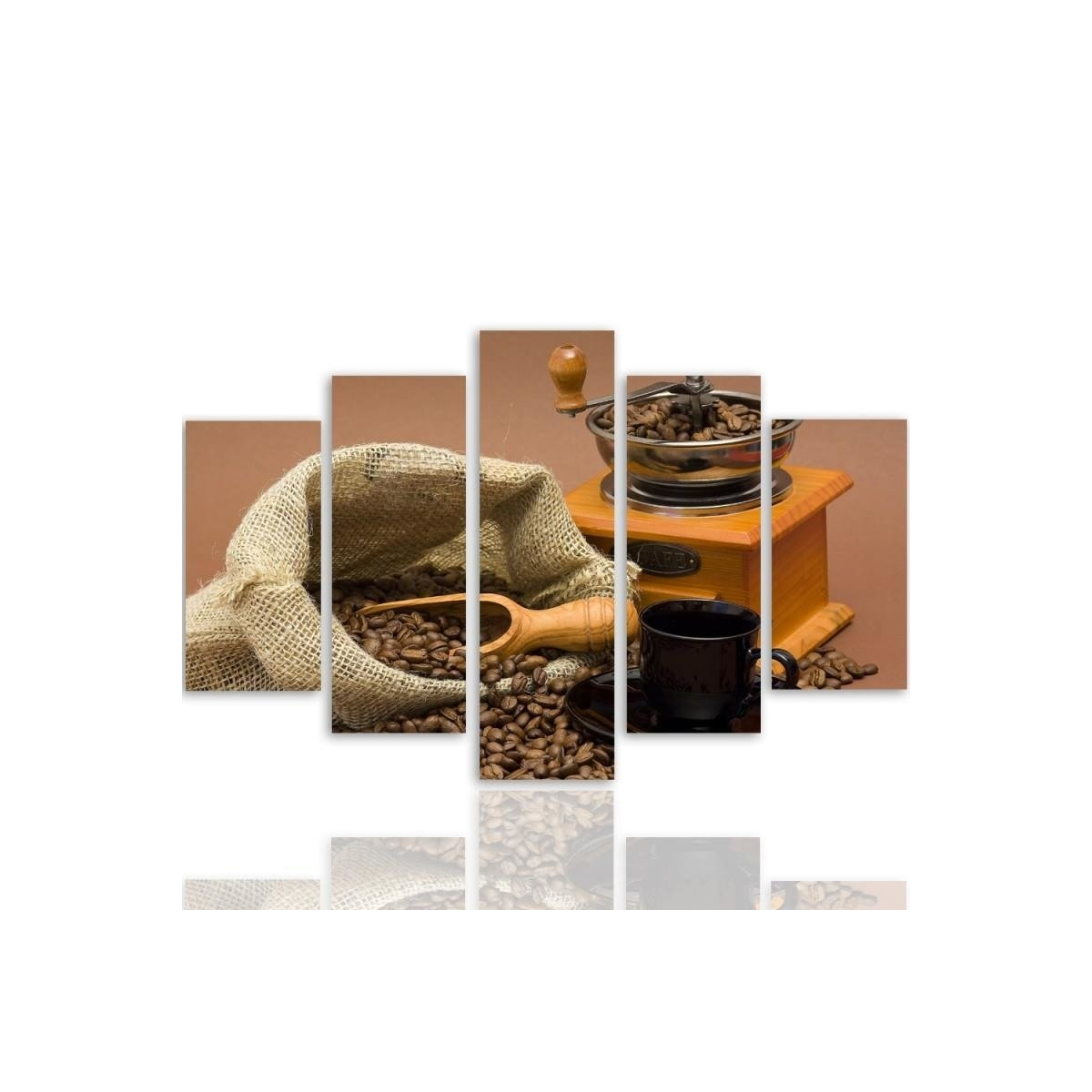 Five Part Picture On Canvas, Pentaptych, Type A, Coffee Beans 2100x150