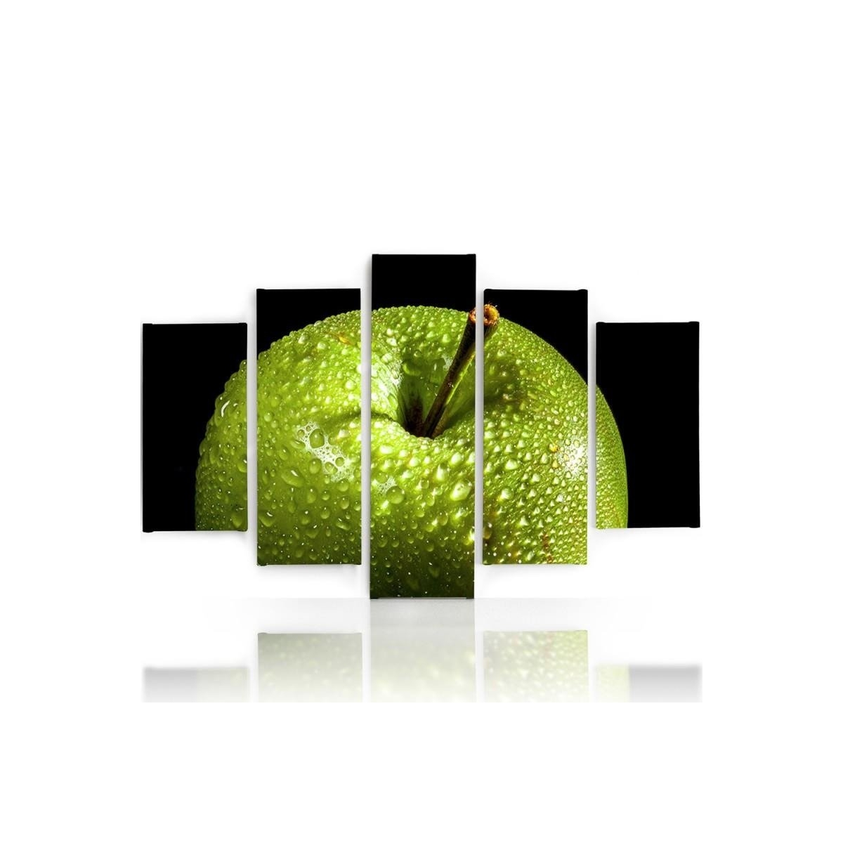 Five Part Picture On Canvas, Pentaptych, Type A, Green Apple 100x150