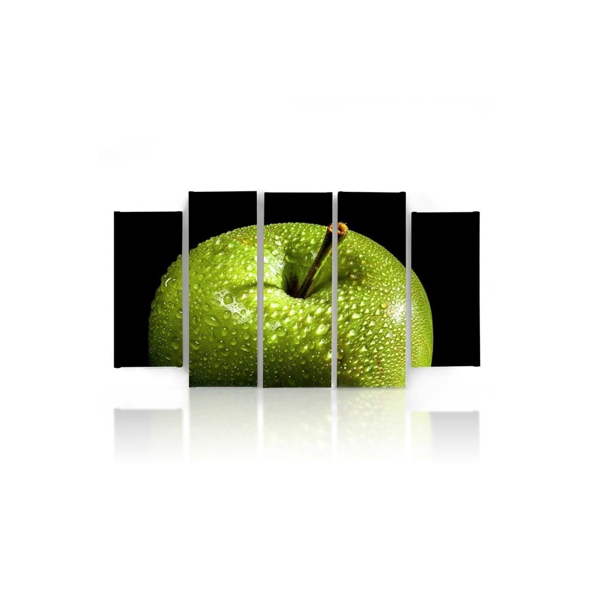 Five Part Picture On Canvas, Pentaptych, Type B, Green Apple 100x150