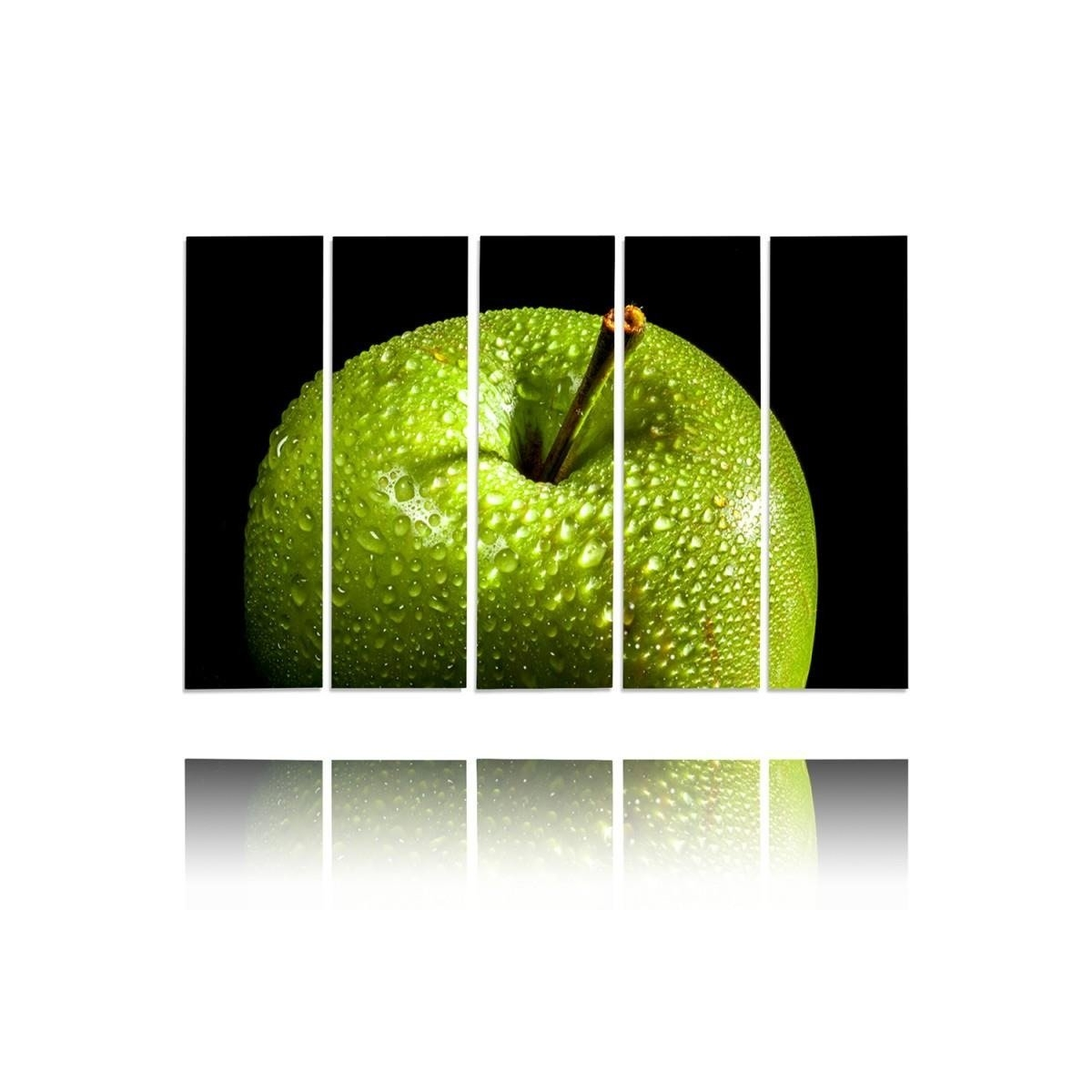 Five Part Picture On Canvas, Pentaptych, Type C, Green Apple100x150
