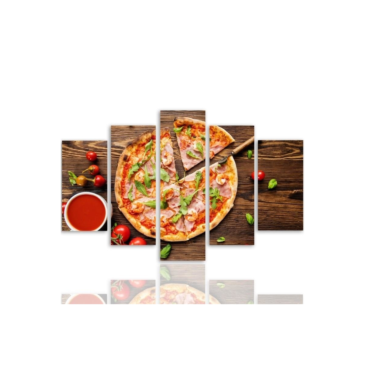 Five Part Picture On Canvas, Pentaptych, Type A, Pizza With Arugula 100x150