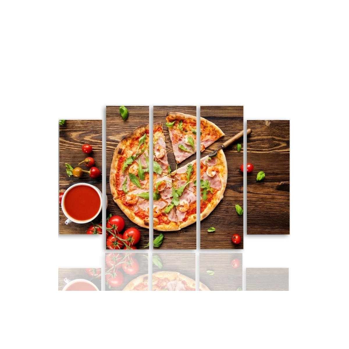 Five Part Picture On Canvas, Pentaptych, Type B, Pizza With Arugula 100x150