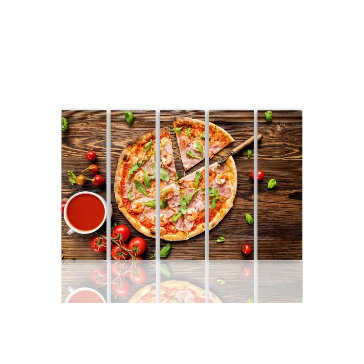 Five Part Picture On Canvas, Pentaptych, Type C, Pizza With Arugula 100x150