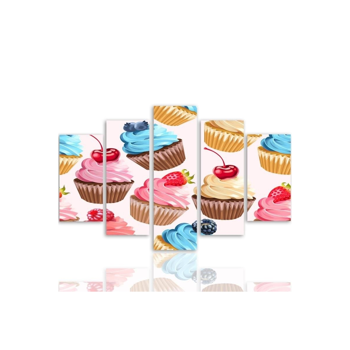 Five Part Picture On Canvas, Pentaptych, Type A, Fruit Muffins100x150