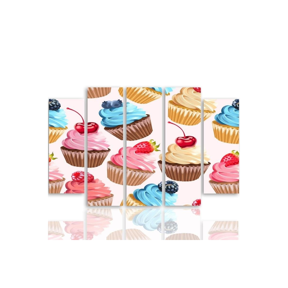 Five Part Picture On Canvas, Pentaptych, Type B, Muffins With Fruit100x150
